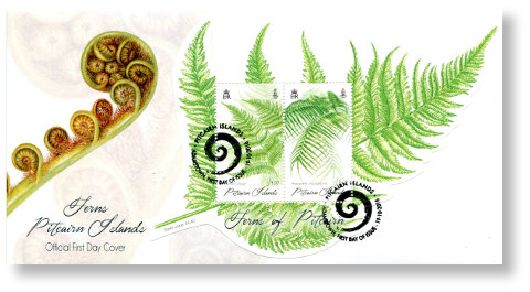 Ferns of Pitcairn mini-sheet FDC