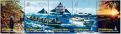 Pitcairn's Longboat History - stamps